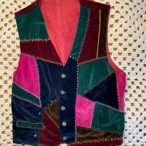 VINTAGE velvet patchwork vest button front